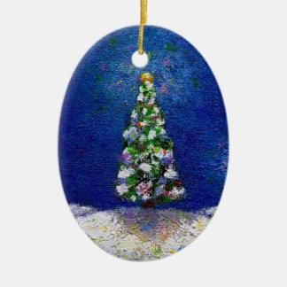 Christmas trees fun colorful original art painting ornaments