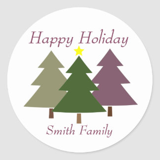 Christmas Trees Gift Label with Custom Name Sticker