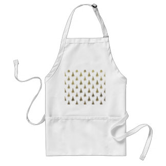 Christmas Trees Gold Bronze Holiday Pattern Tree Adult Apron