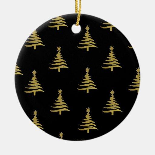 Christmas Trees Gold on Black Christmas Ornament