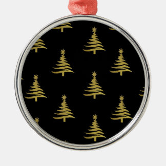 Christmas Trees Gold on Black Round Metal Christmas Ornament