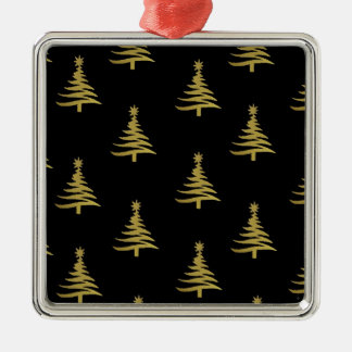 Christmas Trees Gold on Black Square Metal Christmas Ornament