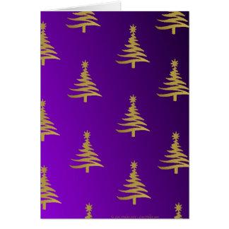 Christmas Trees Gold on Purple Card