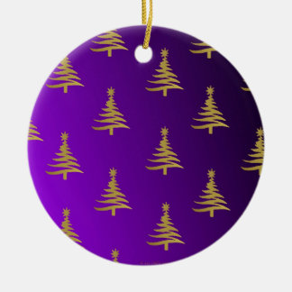 Christmas Trees Gold on Purple Double-Sided Ceramic Round Christmas Ornament