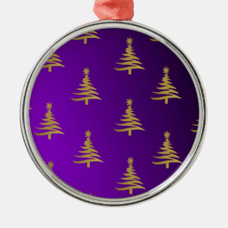 Christmas Trees Gold on Purple Round Metal Christmas Ornament