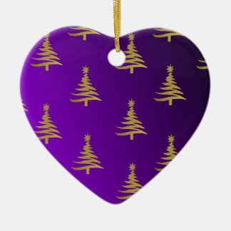 Christmas Trees Gold on Purple Double-Sided Heart Ceramic Christmas Ornament