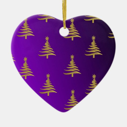 Christmas Trees Gold on Purple Christmas Tree Ornament