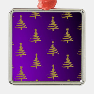 Christmas Trees Gold on Purple Square Metal Christmas Ornament