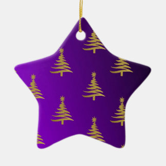 Christmas Trees Gold on Purple Double-Sided Star Ceramic Christmas Ornament