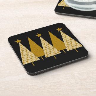 Christmas Trees - Gold Ribbon Beverage Coaster