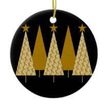 Christmas Trees - Gold Ribbon Ceramic Ornament