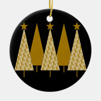 Christmas Trees - Gold Ribbon Ceramic Ornament