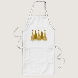 Christmas Trees - Gold Ribbon Long Apron