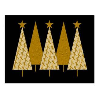 Christmas Trees - Gold Ribbon Post Card