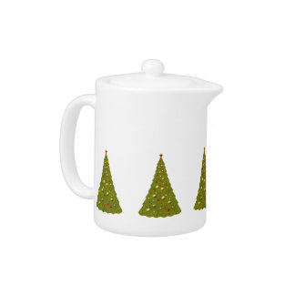 Christmas Trees Green And White Holiday Teapot