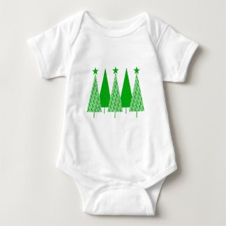 Christmas Trees - Green Ribbon Kidney Cancer Baby Bodysuit