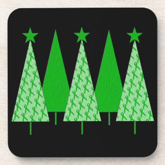 Christmas Trees - Green Ribbon Kidney Cancer Beverage Coaster
