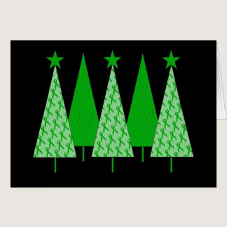 Christmas Trees - Green Ribbon Kidney Cancer Card