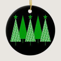 Christmas Trees - Green Ribbon Kidney Cancer Ceramic Ornament