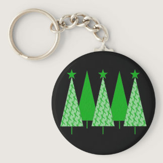 Christmas Trees - Green Ribbon Kidney Cancer Keychain