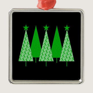 Christmas Trees - Green Ribbon Kidney Cancer Metal Ornament