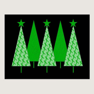 Christmas Trees - Green Ribbon Kidney Cancer Postcard