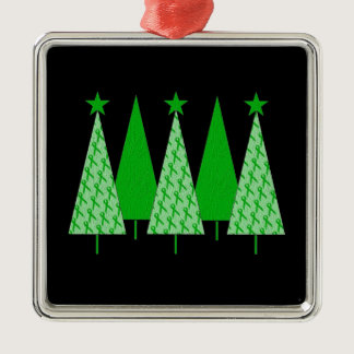 Christmas Trees - Green Ribbon Liver Cancer Metal Ornament