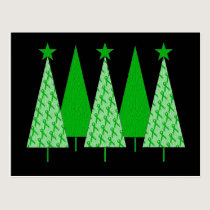 Christmas Trees - Green Ribbon Liver Cancer Postcard