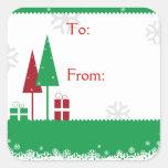 Christmas Trees Green Square Sticker
