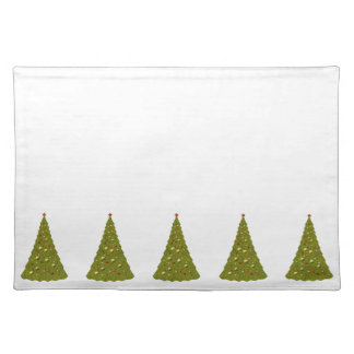Christmas Trees Green & White Christmas Placemat