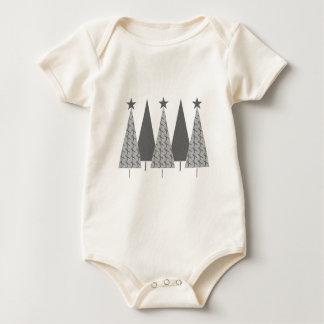 Christmas Trees - Grey Ribbon Brain Cancer Baby Bodysuit