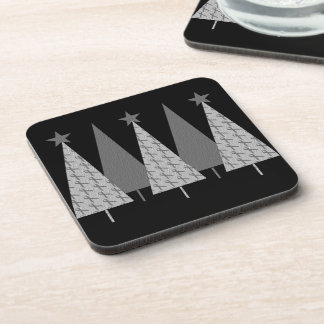 Christmas Trees - Grey Ribbon Brain Cancer Beverage Coaster