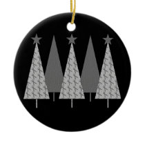 Christmas Trees - Grey Ribbon Brain Cancer Ceramic Ornament
