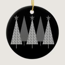 Christmas Trees - Grey Ribbon Brain Cancer Ceramic Ornament