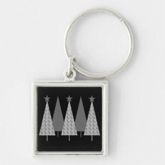 Christmas Trees - Grey Ribbon Brain Cancer Keychain