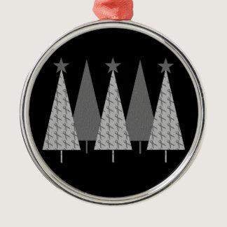 Christmas Trees - Grey Ribbon Brain Cancer Metal Ornament