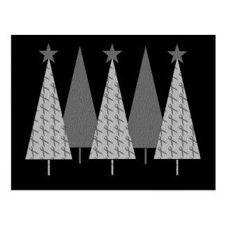 Christmas Trees - Grey Ribbon Brain Cancer Post Card