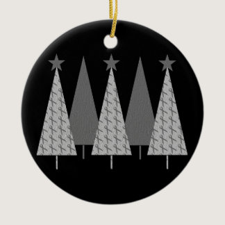 Christmas Trees - Grey Ribbon Diabetes Ceramic Ornament