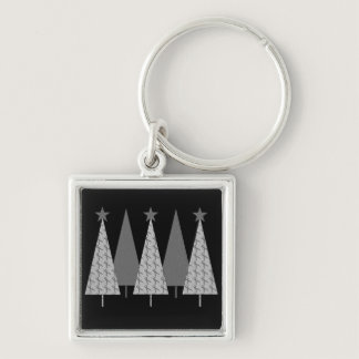 Christmas Trees - Grey Ribbon Diabetes Keychain