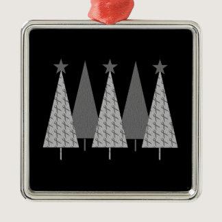 Christmas Trees - Grey Ribbon Diabetes Metal Ornament