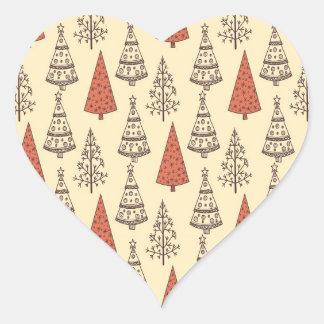 Christmas trees heart sticker