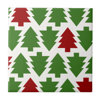 Christmas Trees Holiday Pattern Ceramic Tile