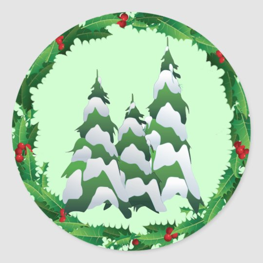 CHRISTMAS TREES & HOLLY by SHARON SHARPE Classic Round Sticker