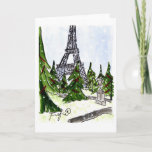"""Christmas Trees in Paris Holiday Card<br><div class=""""desc"""">A whimsical and FUN Fifi Flowers Frameable Card...  Perfect for YOU or a friend!</div>"""