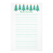 Christmas Trees in Pointillism Lined Stationery