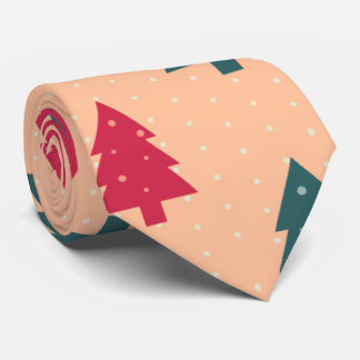 Christmas Trees in Turquoise and Rose Neck Tie