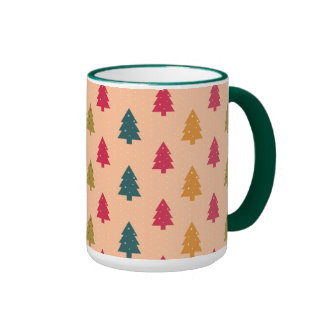 Christmas Trees in Turquoise and Rose Ringer Mug