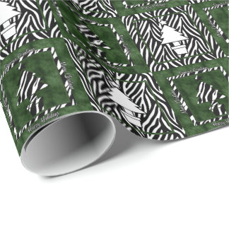 Christmas Trees in Zebra Print Wrapping Paper