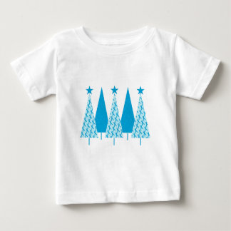 Christmas Trees Light Blue Ribbon Baby T-Shirt
