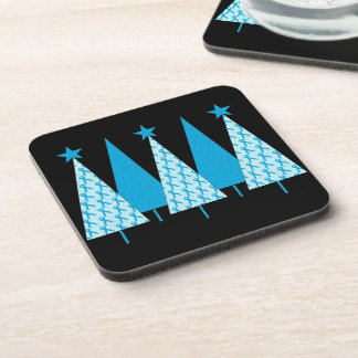 Christmas Trees - Light Blue Ribbon Beverage Coaster